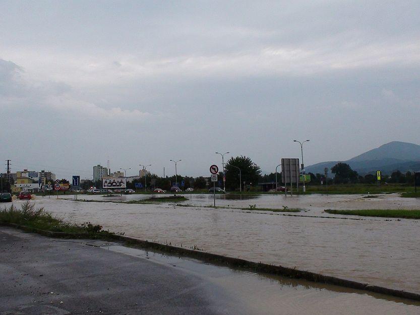 Zaplavená oblasť v Košútoch.